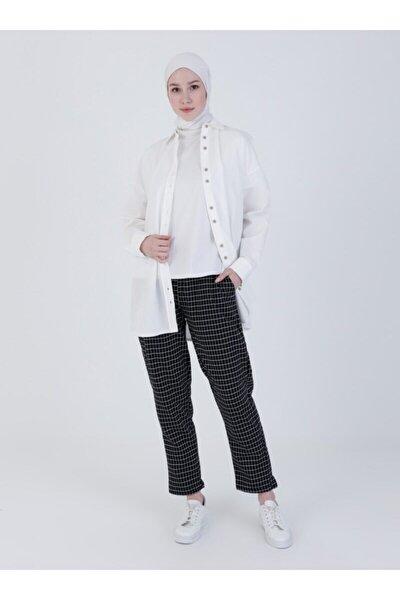Kareli Pantolon - Siyah -