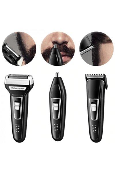 3 In 1 Profesyonel Saç Sakal Kesme Ense Burun Traş Tıraş Makinesi Seti