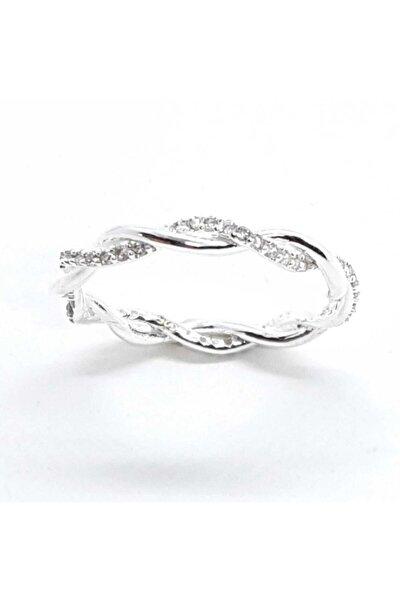 925 Kadın Burgu Tamtur Zirkon Beyaz Taşlı Gümüş Yüzük
