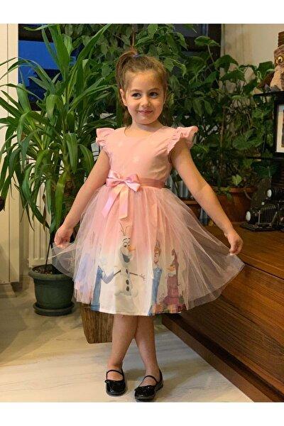 Kız Çocuk Pembe Tüllü Elsa Elbise