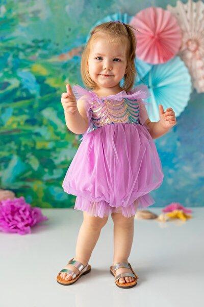 Lila Kız Bebek Tulum Balloon Mermaid