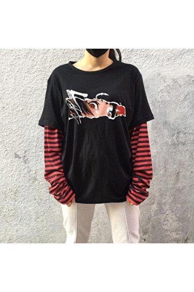 Unisex Siyah Anime Sasuko Çizgili Uzun Kollu Sweatshirt