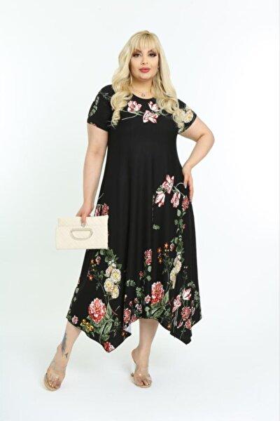 Kadın Siyah Asimetrik Kesim Çiçek Desenli Büyük Beden Elbise
