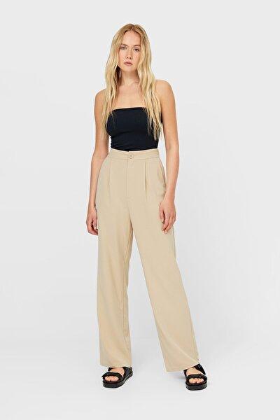Kadın Krem Rengi Straight Fit Pantolon