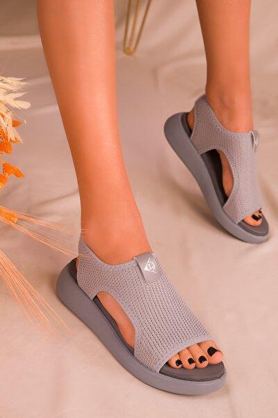 Gri Kadın Sandalet 16136