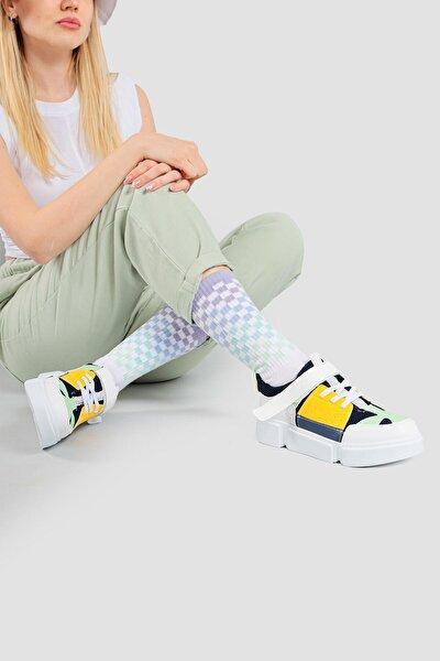 Kadın Sarı Cırt Cırt Detaylı Çok Renkli Yüksek Taban Sneakers