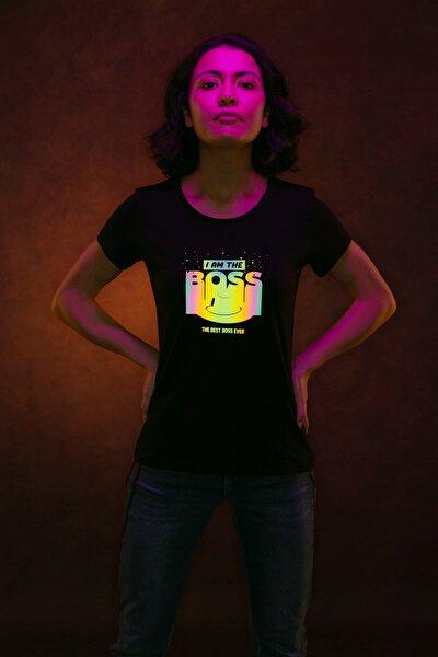 Boss Baskılı Gökkuşağı Reflektör T-shirt
