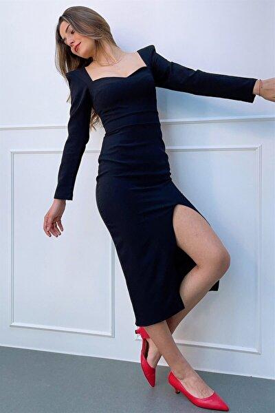 Kadın Kalp Yaka Mıdı Boy Önden Yırtmaçlı Dar Elbise Et3711