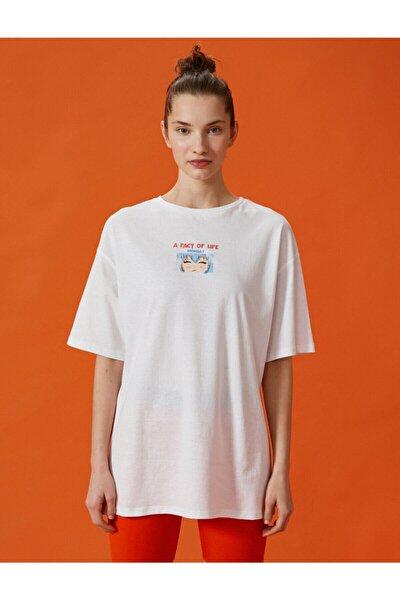 Kadın Ekru Baskılı Pamuklu  T-Shirt