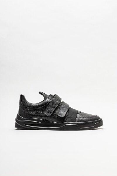 Erkek Siyah Deri Spor Ayakkabı