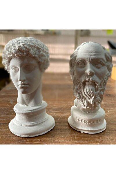 Beyaz Hermes ve  Socrates Heykel Büst 2'li