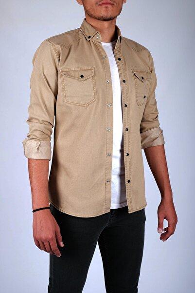 Erkek Bej Rengi Çift Cepli Çıtçıtlı Kot Gömlek 176037