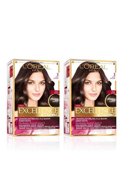 Excellence Creme Saç Boyası 3 Koyu Kestane 2'li Set