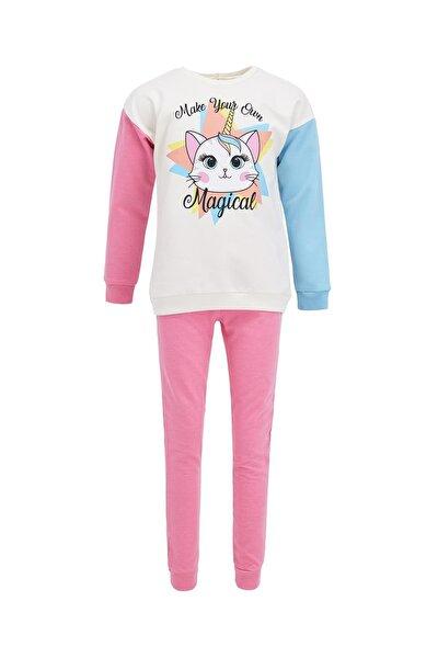 Kız Çocuk Ekru Unicorn Baskılı Sweatshirt Ve Jogger Eşofman Alt Takımı