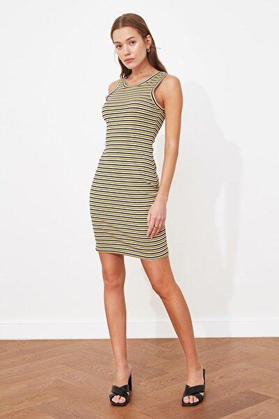 Çok Renkli Çizgili Örme Elbise TWOSS21EL3047