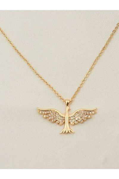 Zümrüdü Anka Kuşu Kolye Zirkon Taşlı Altın Rengi Gümüş Kaplama