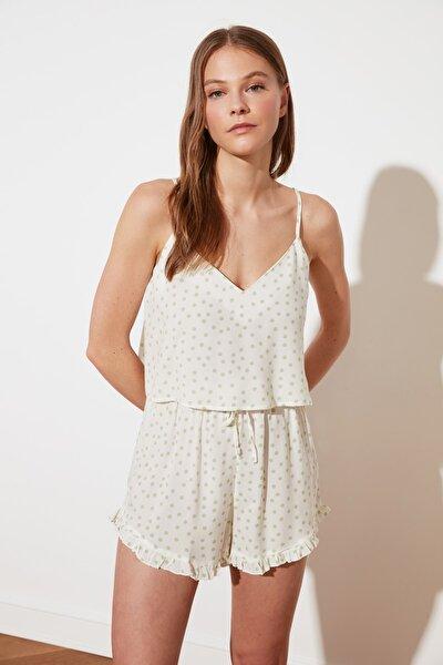Beyaz Puantiyeli Dokuma Pijama Takımı THMSS21PT0742