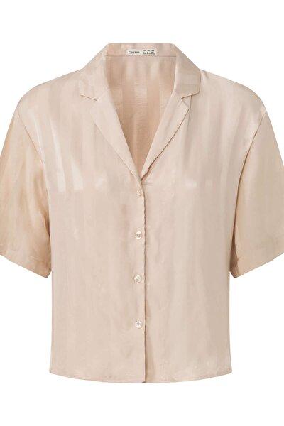Kadın Bej Çizgili Jakarlı Gömlek