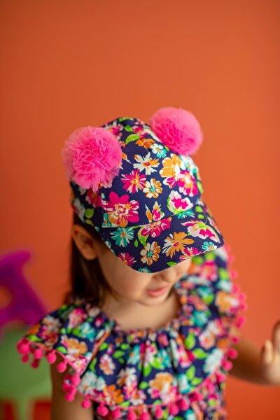 Kız Çocuk Lacivert  Şapka Amy Garden