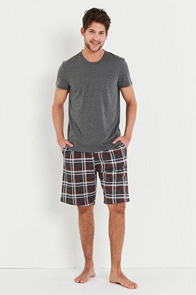 Erkek Gri Çok Renkli Stone Şort Pijama Takımı