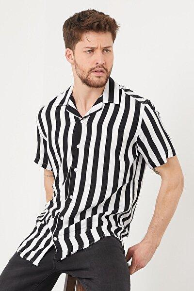 Erkek Slim Fit Keten Apaş Yaka Kısa Kollu Gömlek Siyah-beyaz