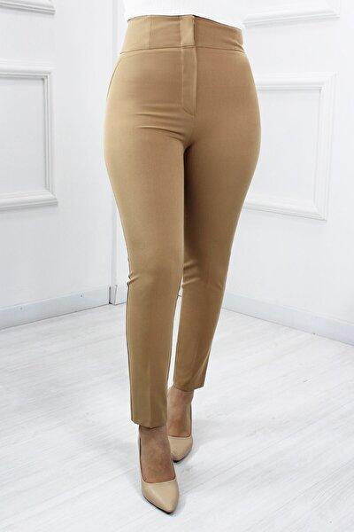 Kadın Bej Yüksek Bel Pantolon 65297