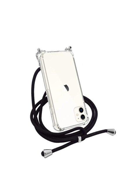 Şeffaf Iphone 11 Siyah İpli Boyun Askılı Telefon Kılıfı