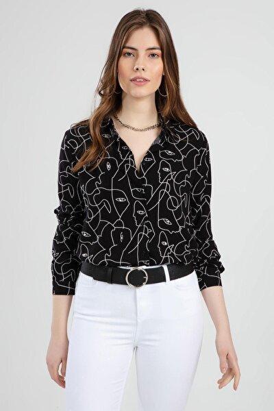 Kadın Göz Baskılı Sırtı Robalı Uzun Kollu Gömlek Ptty20s-129