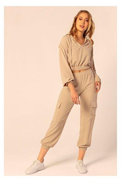 Kadın Kahverengi Kapüşonlu Beli Lastikli Sweatshirt