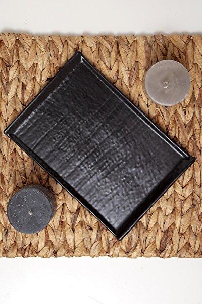 Kayık Doğaltaş Tepsi 24 Cm Mat Siyah 956 A