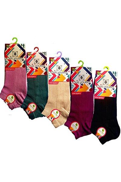 Kadın Çok Renkli Bambu Dikişsiz Spor Patik Çorap 5'li Paket