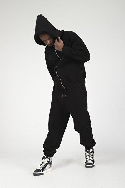 Basic Fermuarlı Kapşonlu Oversize Sweatshirt Siyah
