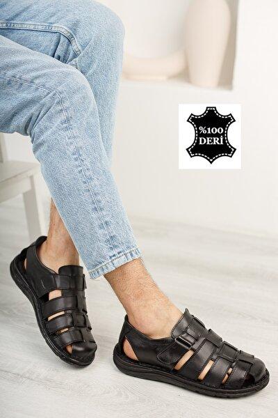 Erkek Siyah Sandalet Ayakkabı