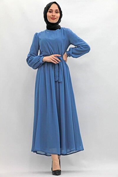 Kadın Lacivert Kol Ucu Manşetli Şifon Elbise Indigo
