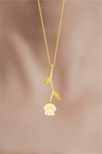 Kadın Gümüş Beyaz Gül Model Altın Kaplama Kolye 925 Ayar