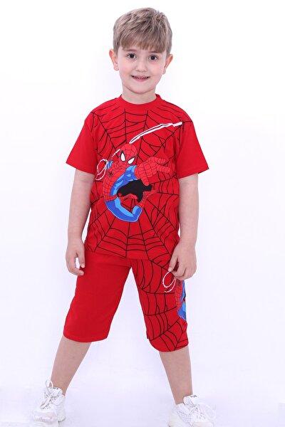 Erkek Çocuk Kırmızı Baskılı 1-8 Yaş Şortlu Takım 6569