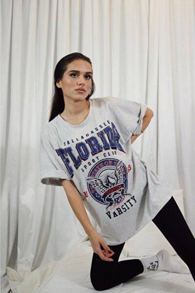 Kadın Gri Florida Baskılı Oversize Tshirt