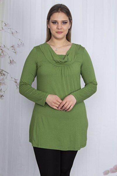 Kadın Yeşil Yaka Detaylı Tunik 65N23583