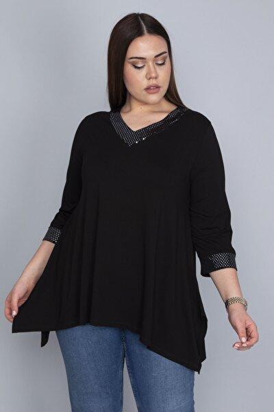 Kadın Siyah Yaka Ve Kol Ağzı Payet Detaylı Asimetrik Bluz 65N23569