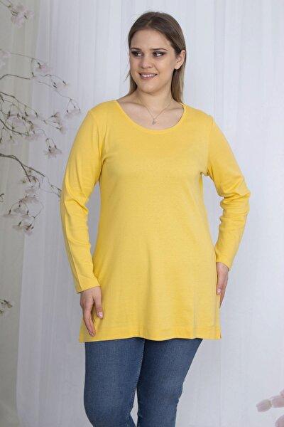 Kadın Sarı Pamuklu Kumaş Bisiklet Yakalı Bluz 65N23586