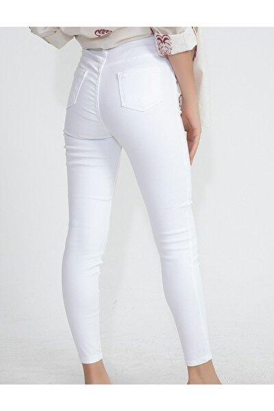 Kadın Beyaz Likralı Pantolon