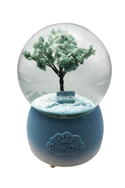 Hayat Ağacı Tasarımlı Otomatik Kar Üflemeli Büyük Boy Renk Değiştiren Müzikli Işıklı Kar Küresi