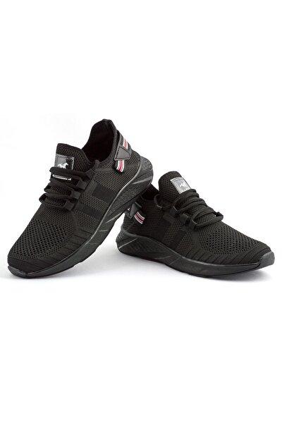 136 Siyah Siyah Delikli Yazlık Erkek Spor Ayakkabı