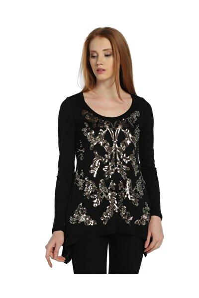 Kadın Siyah Payetli Tişört - Bga123079