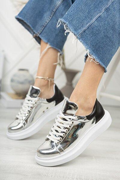 Ch259 Kadın Ayakkabı Gümüş Siyah