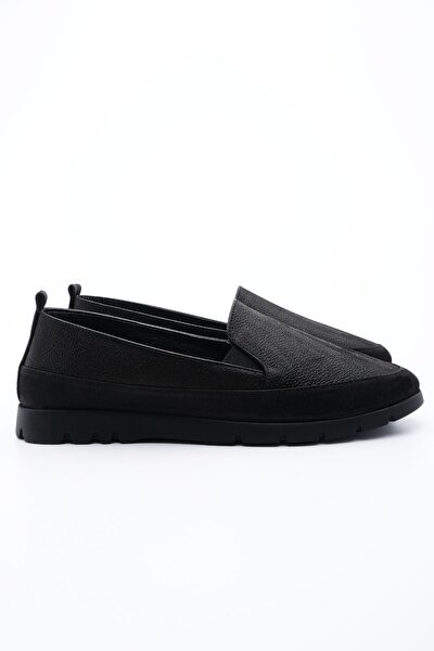 Kadın Siyah Hakiki Deri Comfort Ayakkabı Zokle