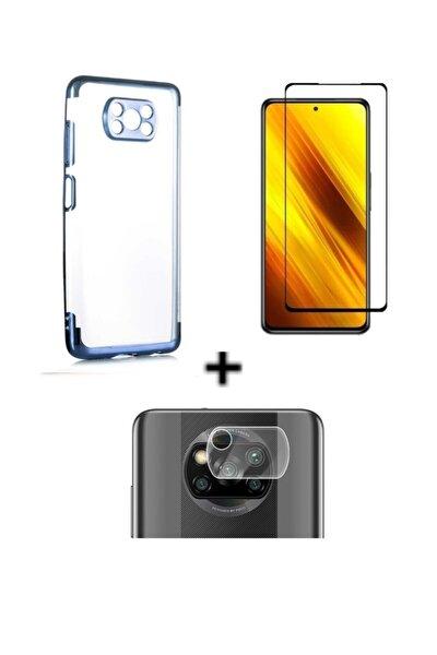 Xiaomi Poco X3 Uyumlu Renkli Şeffaf Silikon Kılıf 5d Cam Ekran Koruma ve Kamera Lens Koruma