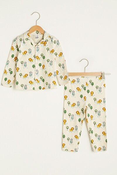 Erkek Bebek Ekru Baskılı Lra Pijama Takımı
