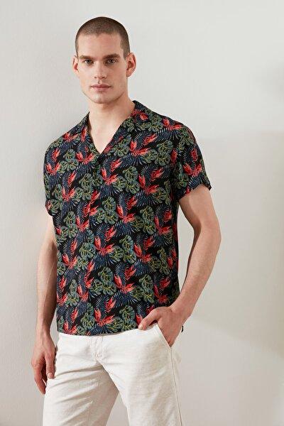 Çok Renkli Erkek Regular Fit Apaş Yaka Kısa Kol Tropik Gömlek TMNSS21GO1039