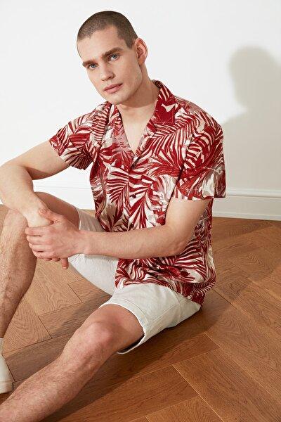 Kiremit Erkek Regular Fit Apaş Yaka Kısa Kol Tropik Gömlek TMNSS21GO1037